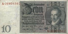 R.173e: 10 Reichsmark 1929 mit belgischem Lagerstempel (3)