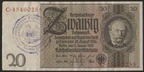 R.174e: 20 Reichsmark 1929 mit belgischem Gemeindestempel (3)