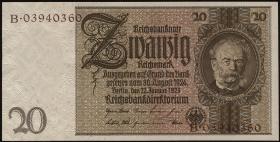 R.174F: 20 Reichsmark 1929 mit brauner KN (1)