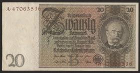 R.174F: 20 Reichsmark 1929 mit brauner KN (2)