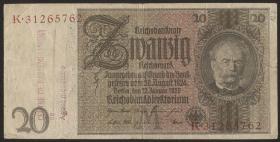 R.174f: 20 Reichsmark 1929 mit belgischem Lagerstempel (3)