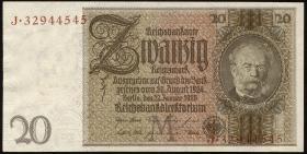 R.174F: 20 Reichsmark 1929 mit brauner KN (1/1-)