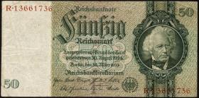 R.175e: 50 Reichsmark 1933 mit belgischem Gemeindestempel (3)