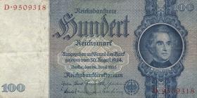 R.176a: 100 Reichsmark 1935 Liebig U/D (3+)
