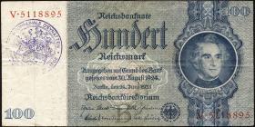 R.176e: 100 Reichsmark 1935 mit belgischem Gemeindestempel (3)