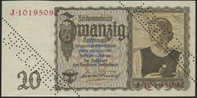 """R.178: 20 Reichsmark 1939 """"Österreicherin"""" Specimen (1-)"""