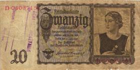 R.178c: 20 Reichsmark 1939 mit belgischem Lagerstempel (4)