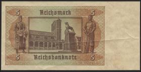 R.179F 5 Reichsmark 1942 einseitiger Fehldruck (3+)