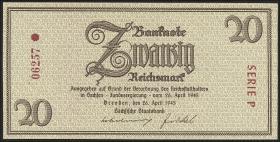 R.184a: 20 Reichsmark 1945 Sachsen Knr. Rosette (1)