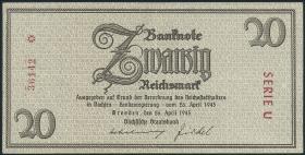 R.184a: 20 Reichsmark 1945 Sachsen (3+)