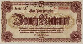 R.186S: 20 Reichsmark 1945 Notausgabe Sudetenland Specimen  (1)