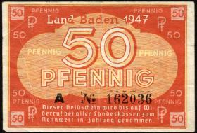 R.210: Baden 50 Pfennig 1947 (3+)