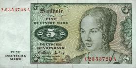 R.262f 5 DM 1960 Ersatznote (3+)