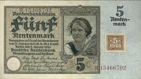 R.332F: 5 Rentenmark 1948 Kuponausgabe braune Kenn-Nummer (1)