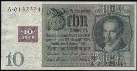 R.334F: 10 DM 1948 Kuponausgabe - braune Kenn-Nummer (2)