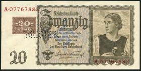 R.336M 20 DM 1948 Kuponausgabe Muster Perforation (2+)