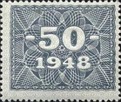 R.337: 50 Mark 1948 Kupon mit original Gummi (1)