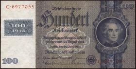 R.338c: 100 DM 1948 Kuponausgabe Kriegsdruck (1-)