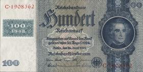 R.338c: 100 DM 1948 Kuponausgabe Kriegsdruck (1)
