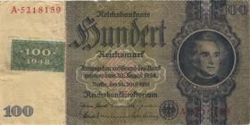 R.338c: 100 DM 1948 Kuponausgabe Kriegsdruck (3)