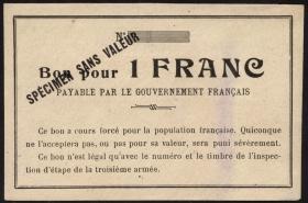 R.425: Frankreich 1 Franc (1915) Specimen (1-)