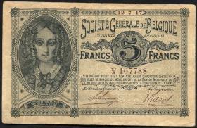 R.435: Besetzung Belgien 5 Francs 1917 (3+)