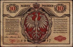 R.453: Besetzung Polen 10 Marek 1917 (3-)