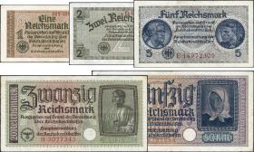 R.551 - 555: 1 - 50 Reichsmark (1939) Reichskreditkasse (3)