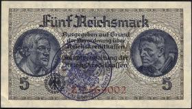 R.553e: 5 Reichsmark (1939) Bel. Gemeindestempel (1-)