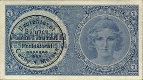 R.556b: Böhmen & Mähren 1 Krone o.D. Maschinenstempel (1)