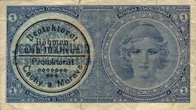 R.556b: Böhmen & Mähren 1 Krone o.D. Maschinenstempel (3)
