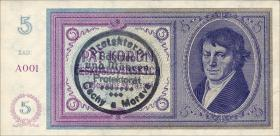 R.557a Böhmen & Mähren 5 Kronen o.D. Handstempel (1)