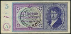 R.557a: Böhmen & Mähren 5 Kronen o.D. Handstempel (2)