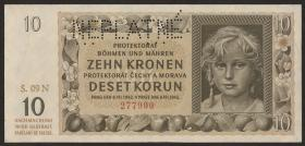 R.562c: Böhmen & Mähren 10 Kronen 1942 Neplatne  (1-)