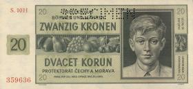 R.563b: Böhmen & Mähren 20 Kronen 1944 H Specimen (1)