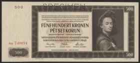 R.565e: Böhmen & Mähren 500 Kronen 1942 Specimen (1)
