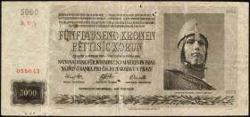 R.568a: Böhmen & Mähren 5000 Kronen 1944 (4-)