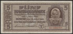 R.593b: Besetzung Ukraine 5 Karbowanez 1942 (1/1-)