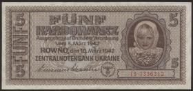 R.593b: Besetzung Ukraine 5 Karbowanez 1942 (1)