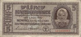 R.593: Besetzung Ukraine 5 Karbowanez 1942 (3)