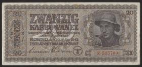 R.595a1: Besetzung Ukraine 20 Karbowanez 1942 (2)