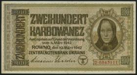 R.598b: Besetzung Ukraine 200 Karbowanez 1942 (1-)