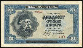 R.606: Serbien 20 Dinara 1942 (3+)