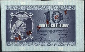 R.621: Laibach 10 Lire 1944 Muster/Vzorek (2+)