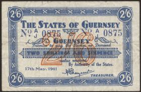 R.639: Guernsey 2 Shillings / 6 Pence 1941 (3-)