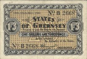 R.642: Guernsey 1 Shilling / 3 Pence 1941 (3)
