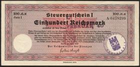 """R.716c: Steuergutschein 100 Reichsmark 1939 (Feb 1940) mit Stempel """"Saarbrücken"""" (2)"""