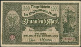 R.795: Danzig 1000 Mark 1923 (2+)
