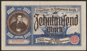 R.799: Danzig 10000 Mark 1923 (2-)