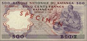 Katanga P.13s 500 Francs 1962 Specimen (1/1-)